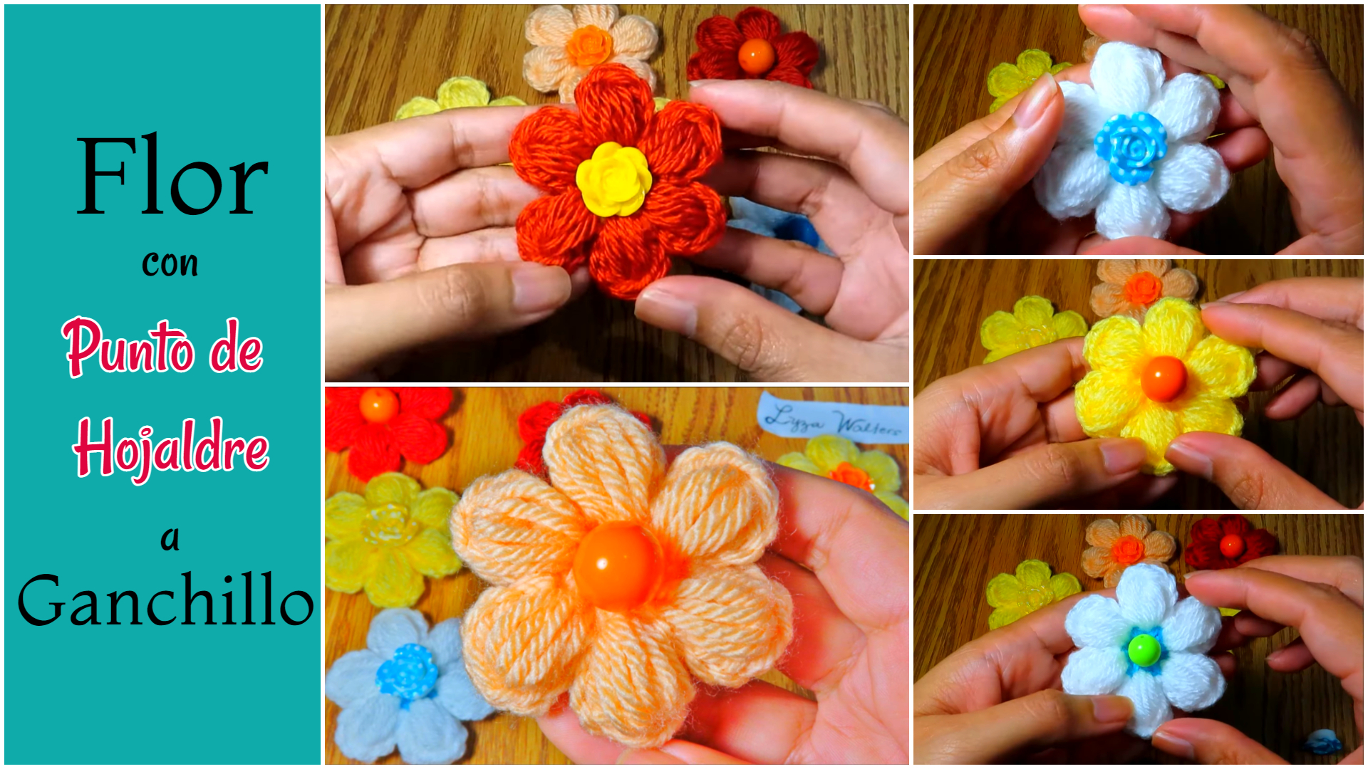 Flor con Punto de Hojaldre a Ganchillo