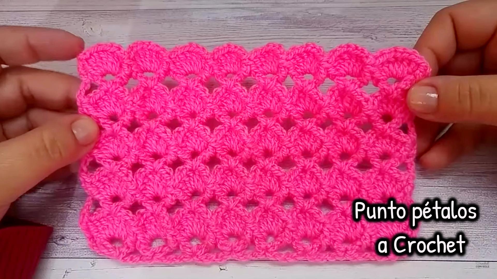 Hermoso Punto pétalos a crochet
