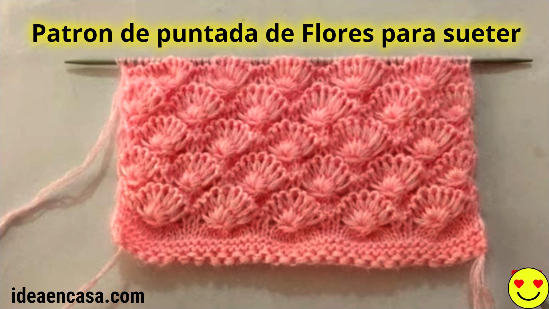 Hermoso patrón de puntada de tejido de flores para suéter / cárdigan