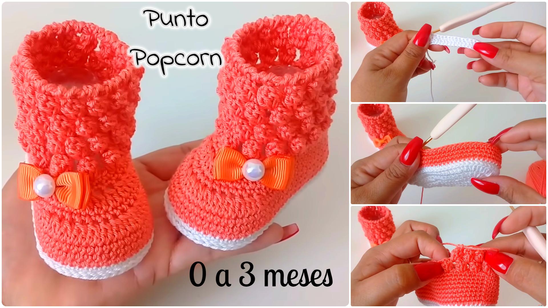 Tutorial botas a crochet para bebe – popcorn-0 a 3 meses