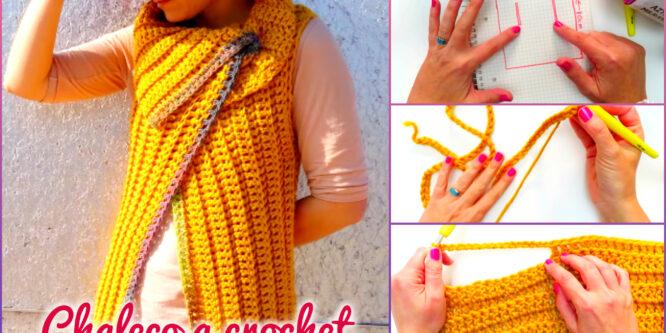 Lindo Chaleco Cruzado para Damas a Crochet