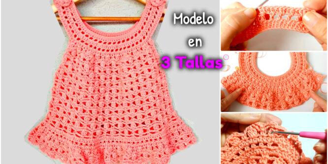 Aprende a tejer Vestido para bebes EN 3 TALLAS