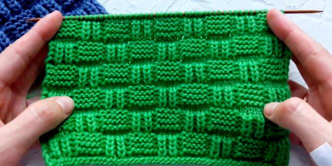 Elegante patrón de gofres a dos agujas