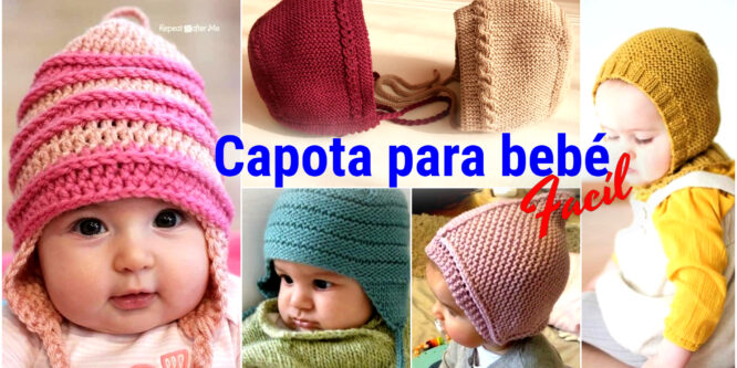 Teje Capota para bebé fácil a Palillos